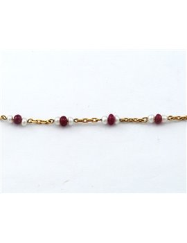 18K GOLD WITH CULTURED PEARLS AND RUBY