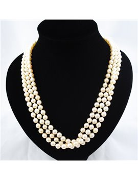 CULTURED PEARLS NECKLACE 7 MM, CLAPS 18K GOLD AND DIAMONDS