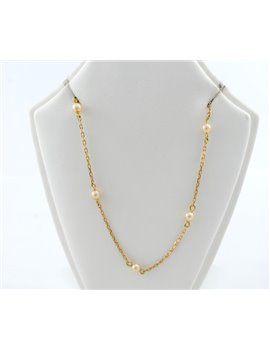 18K GOLD WITH CULTURED PEARLS CHAIN