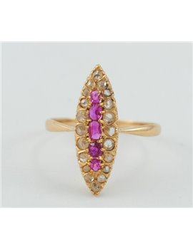 18K GOLD RING WITH LEGITIMATE RUBIES AND DIAMONDS