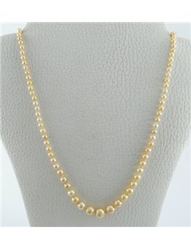 GROWING PEARLS NECKLACE LOWER TO GREATER, CLOSURE 18K GOLD AND DIAMONDS, 48 CM