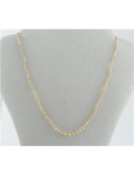 NATURAL PEARL NECKLACE WITH PEARLS AND DIAMONDS, 42 CM