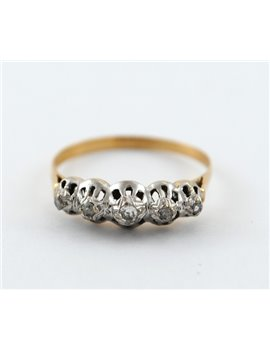 18K GOLD WITH DIAMONDS ANTIQUE RING