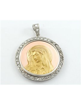 ANTIQUE PLATINUM MEDAL, 18K GOLD AND DIAMONDS WITH RELIGIOUS IMAGE