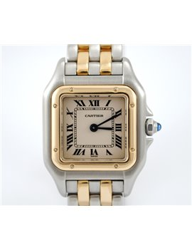 LADY CARTIER PANTHERE QUARTZ 22 MM. STEEL AND GOLD YEAR 1996 WATCH BOX AND PAPERS
