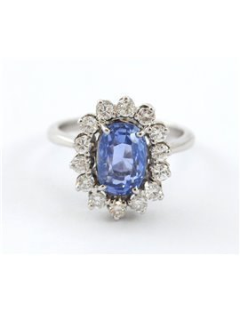 18K WHITE GOLD WITH DIAMONDS AND SAPPHIRE ANTIQUE RING