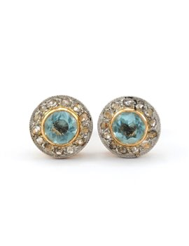 18K GOLD WITH TOPAZ AND DIAMONDS EARRINGS