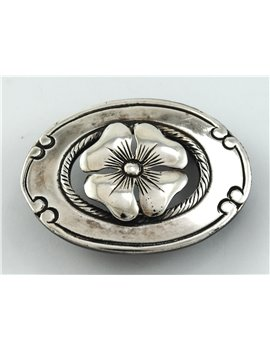 SILVER OVAL BUCKLE 52 MM X 38 MM