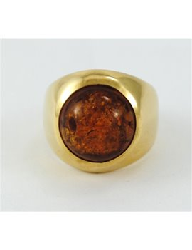 18K GOLD AND AMBER RING