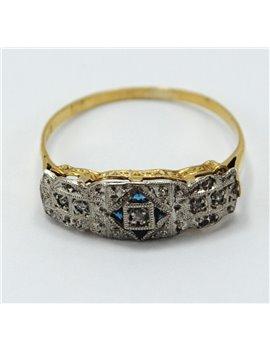 ANTIQUE RING 18 K. ART DECO, WITH DIAMONDS