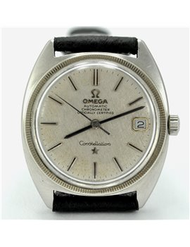 OMEGA CONSTELLATION AUTOMATIC 168027 STEEL,  LEATHER BRACELET