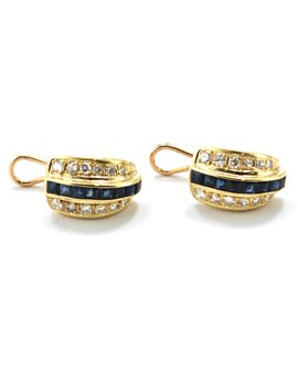 18k earrings 8 carré and 12 brilliant sapphires