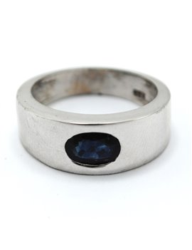 RING 18K WHITE, WITH BLUE LEGAL OVAL ZAFIRO