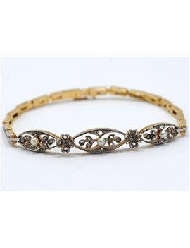 Antique 18k Diamond Bracelet and Perls natural
