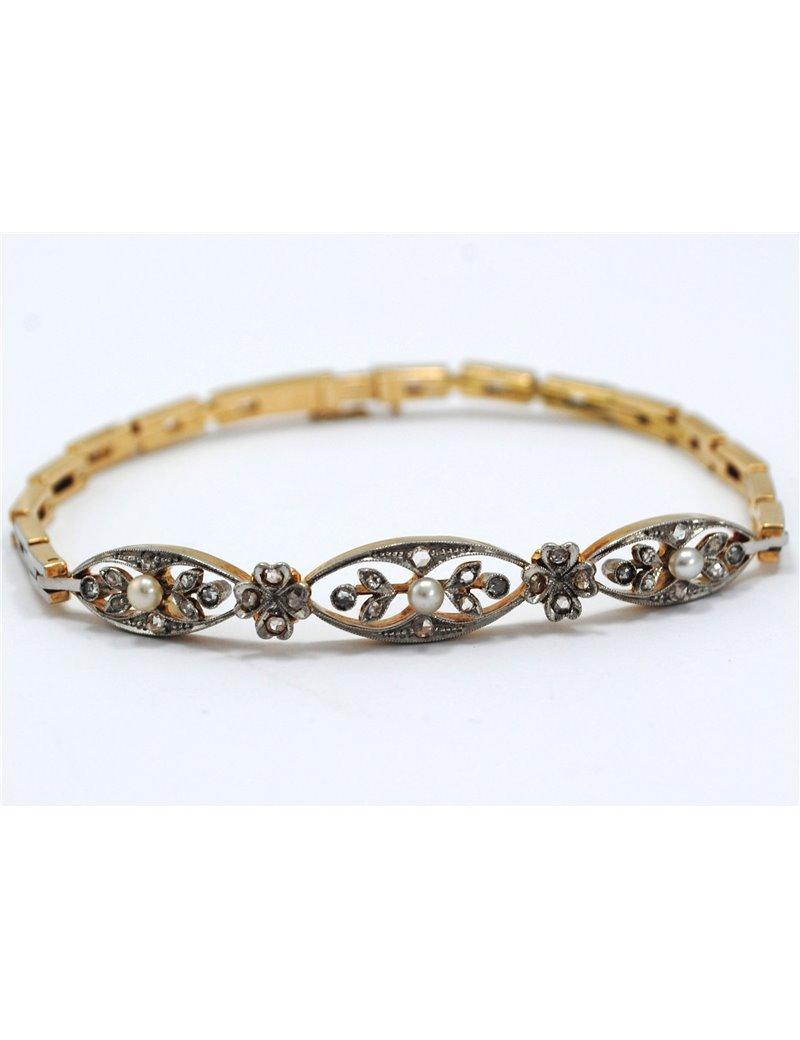 e157328b7526 Facello Joyeros    Pulsera antigua 18k diamantes y perlas naturales