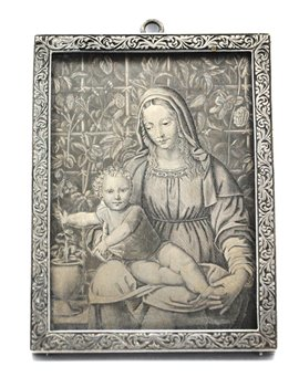 AN ITALIAN SILVER ENGRAVING OF 'VIRGIN WITH CHILD'