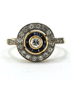 GOLD RING 18 K Old Style DIAMOND Central