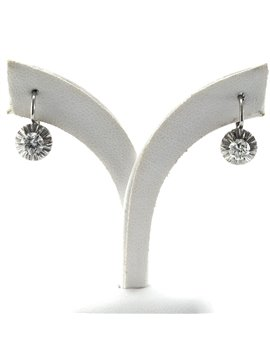 Earring old style, white gold 18k with diamonds