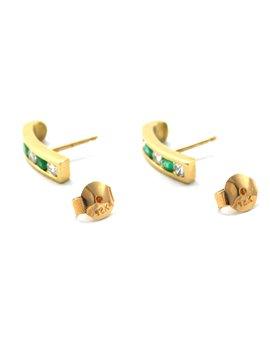 Caravanas oro 18k brillantes y esmeraldas