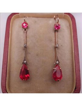 18K GOLD AND SYNTHETIC RUBIES EARRINGS