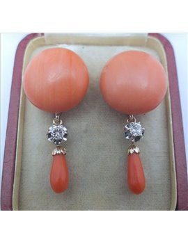 18K GOLD EARRINGS WITH CORAL AND OLD-CUT DIAMONDS