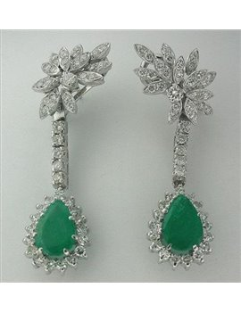 REMOVABLE 18K GOLD EARRINGS WITH EMERALDS AND OLD-CUT DIAMONDS