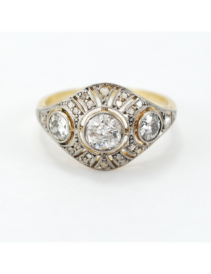 f81fe99504f6 Anillo antiguo oro 18k brillantes y diamantes PESO  2.6 GRS BRILLANTE  1 CT