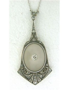 18K GOLD, PLATINUM, DIAMONDS, OLD CUT-DIAMONDS AND QUARTZ ART-DECO PENDANT